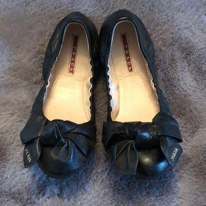 Prada Sport Black Leather Bow Flats size 6.5